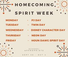 Homecoming Spirit Week: Sept. 30 - Oct. 4