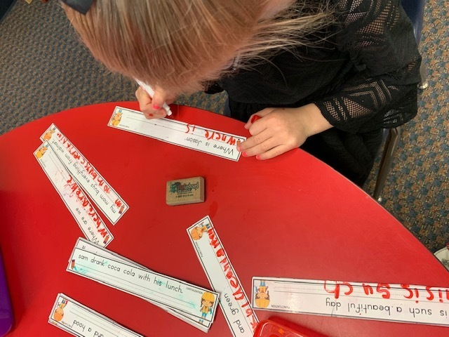 Practicing sentences with correct punctuation